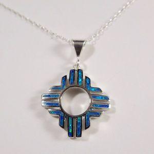 "Blue Fire Opal Sterling Silver Zia Necklace 18"""